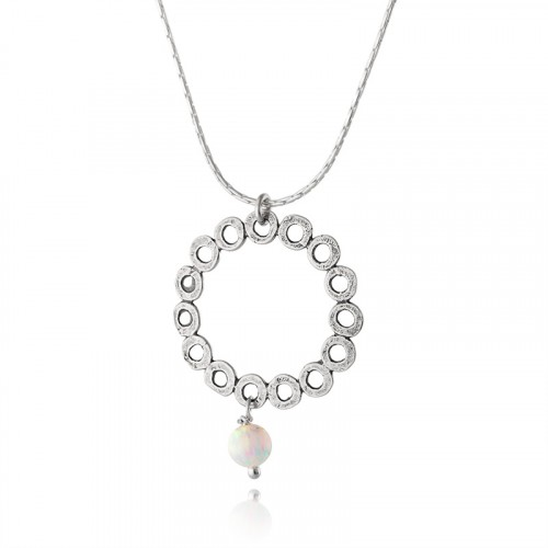Silver Necklace with White Opal