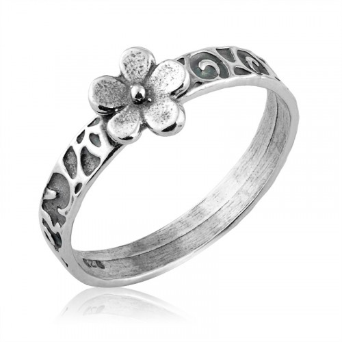 Silver Ring with Silver Flower