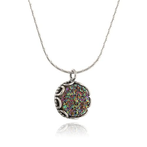 Silver Necklace with Druzy Quartz