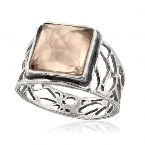 Silver Ring with Syn Rosequartz