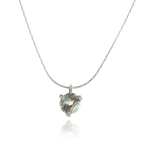 Silver Necklace with Aquamarine