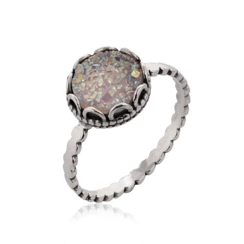 Silver Ring with Druzy Quartz