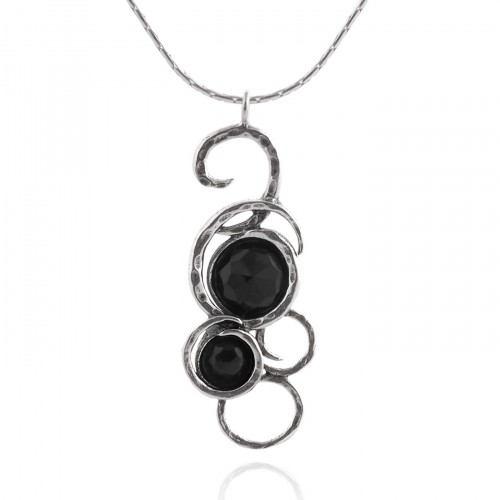 Silver Necklace with Onyx