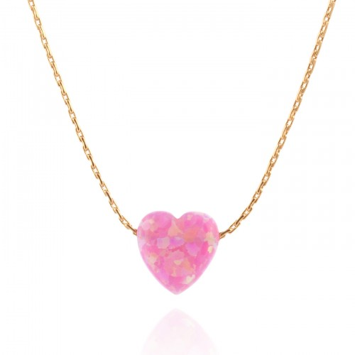 Gold Filled Necklace with Pink Opal