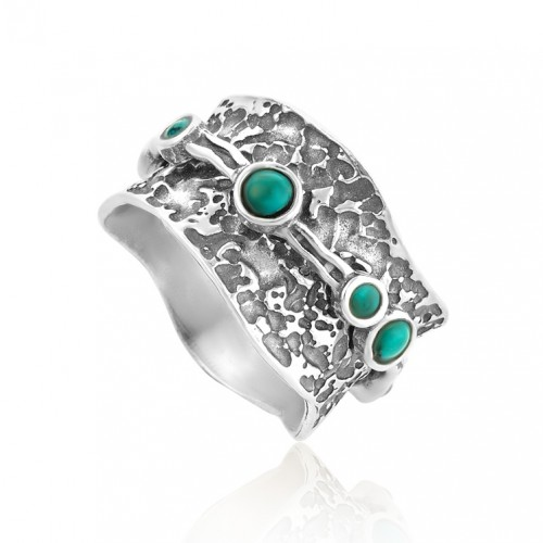 Silver Spinning Ring whith Turquoise