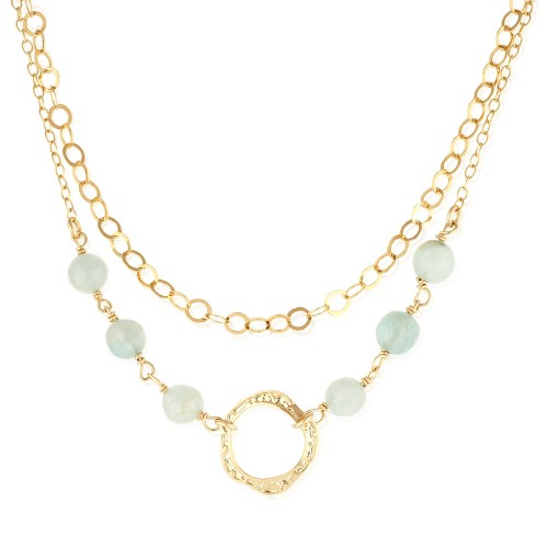 Gold Filled Necklace with Aquamarine