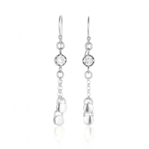 Silver Earrings with Zircon