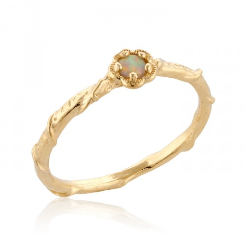 14K Gold Ring with White Opal