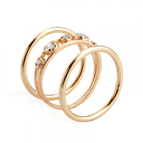 Gold Plated 3 stacking rings, zircon