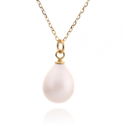 14K Gold Necklace with White Pearl