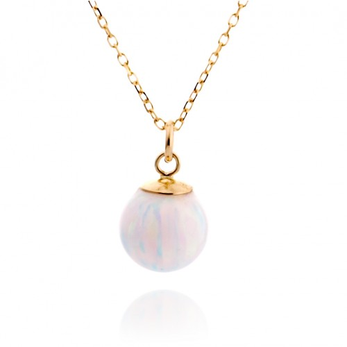14K Gold Necklace with White Opal