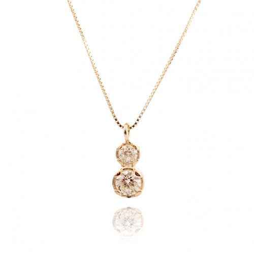 14K Gold Necklace with Champagne Zircon