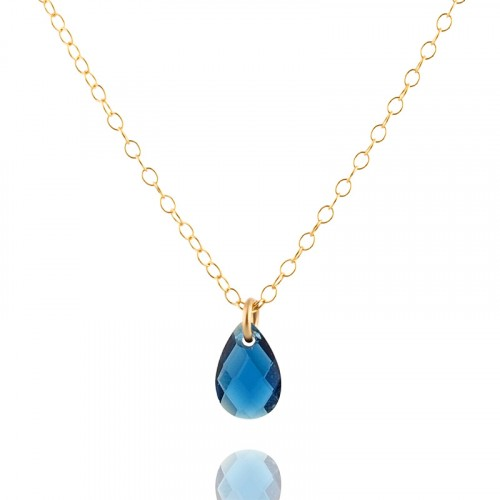 Gold filled necklace with blue Zircon