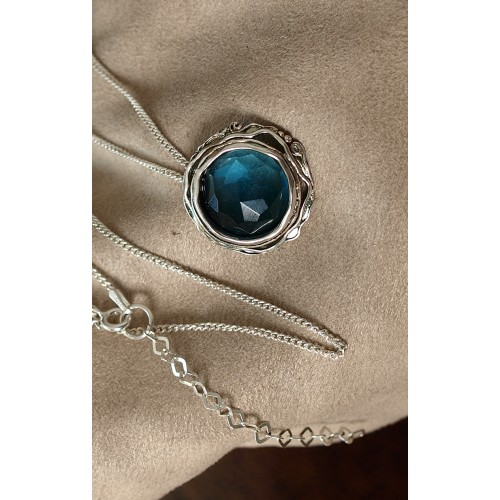 Silver Necklace with Blue Topaz