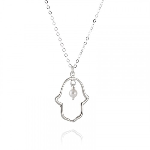 Silver Hamsa Necklace with Pearl
