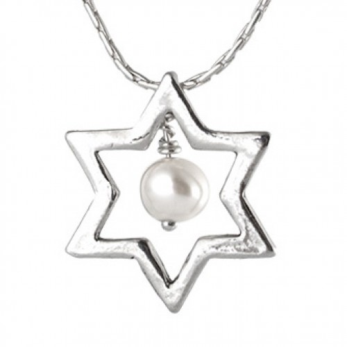 Silver Magen David Necklace with Pearl