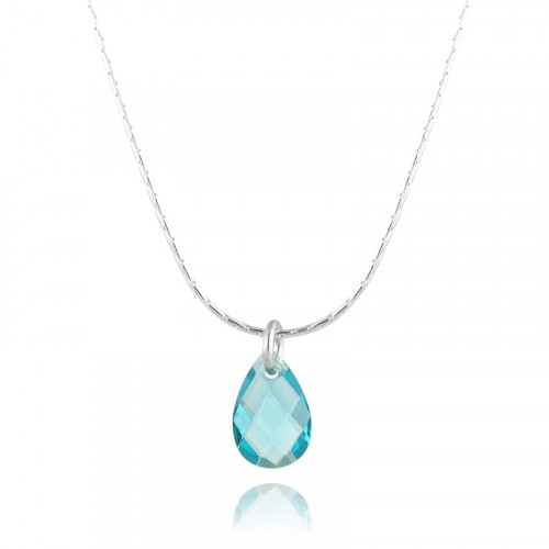 Silver Necklace with Syn. Blue Topaz